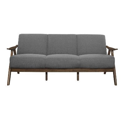 Lexicon 1138GY-3 Damala Collection Retro Inspired 3 Seat Living Room Sofa Couch, Polyester Fabric, Walnut Frame, Gray