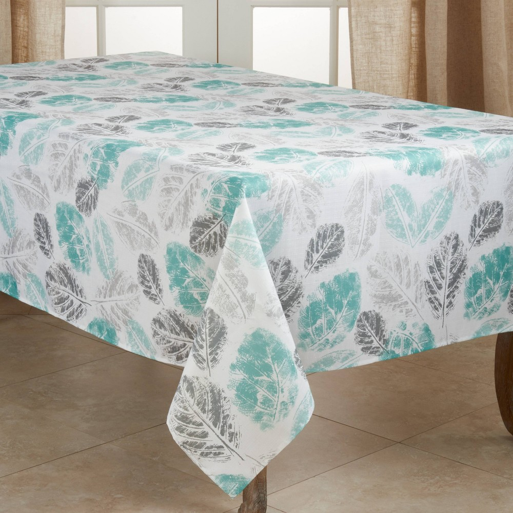"""Image of """"104"""""""" x 65"""""""" Polyester Leaf Print Tablecloth Green - Saro Lifestyle"""""""