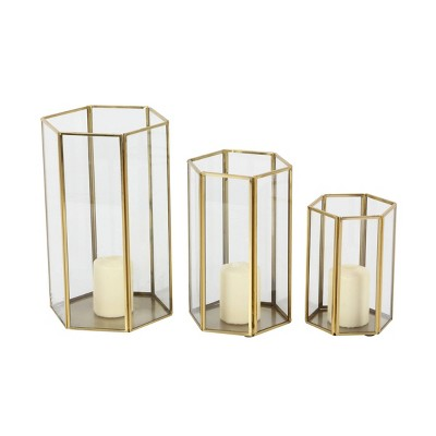 Set of 3 Modern Metal and Glass Candle Holders with Hexagon Silhouettes Gold - CosmoLiving by Cosmopolitan