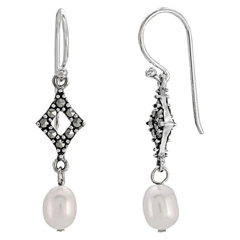 Marcasite and Pearl Earrings - Silver - image 1 of 1