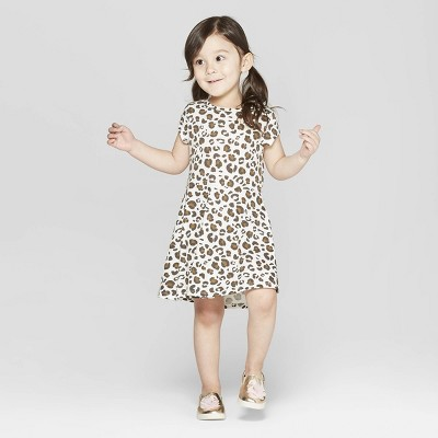 Toddler Girls' Leopard Spot A Line Dress - Cat & Jack™ Cream 18M