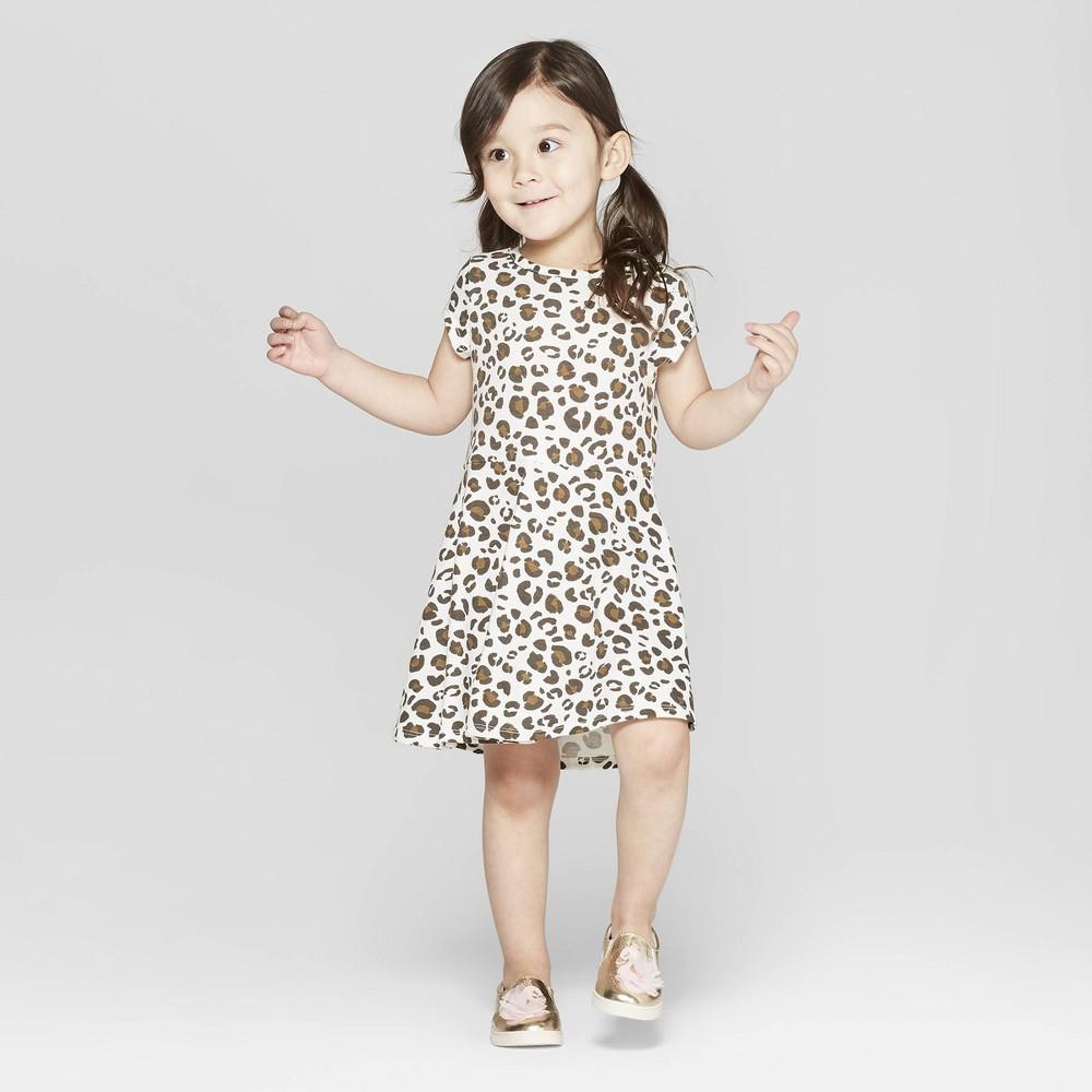 Toddler Girls' Leopard Spot A Line Dress - Cat & Jack Cream 12M, White