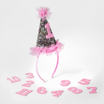 Baby Girls' Milestone Glitter Hat with Numbers - Cat & Jack™ Pink