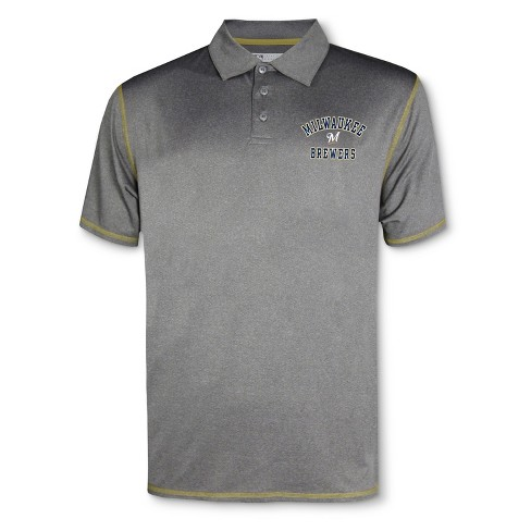 MLB Milwaukee Brewers Men's Your Team Gray Polo Shirt - image 1 of 1