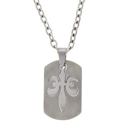 Men's Stainless Steel Fleur De Lis Dog Tag Necklace