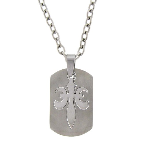 Men's Stainless Steel Fleur De Lis Dog Tag Necklace - image 1 of 2