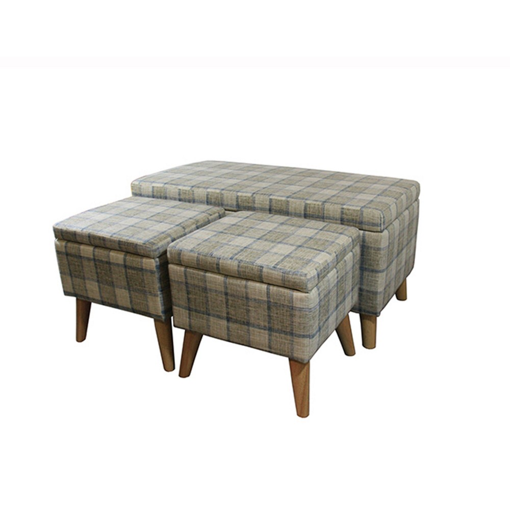 Plaid Storage Bench with 2 Seating Gray - Ore International