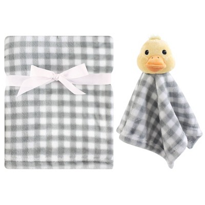 Hudson Baby Unisex Baby Plush Blanket with Security Blanket - Duck One Size