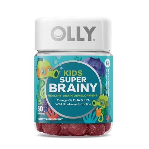 Kids Olly Super Brainy Vitamin Gummies - Blue Raspberry - 50ct - image 1 of 4