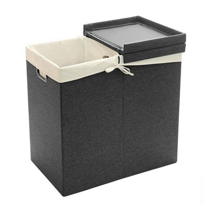 Seville Classics Foldable Lidded Double Laundry Hamper Sorter With Liner Bags Gray