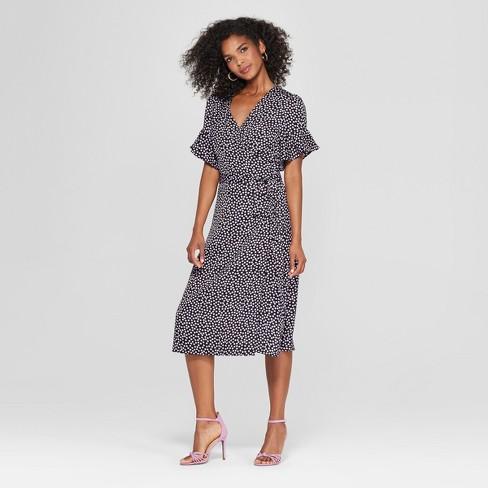 Women S Short Sleeve Wrap Midi Dress Who What Wear