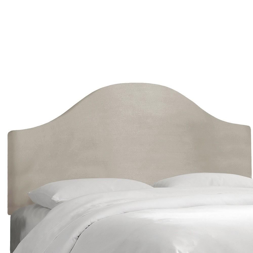 Custom Upholstered Curved Headboard - Velvet Light Gray - Queen - Skyline Furniture