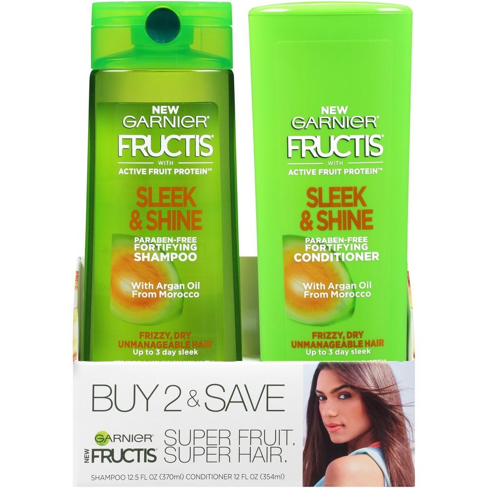 Image of Garnier Fructis Active Fruit Protein Sleek & Shine Shampoo & Conditioner Twin Pack - 24.5 fl oz