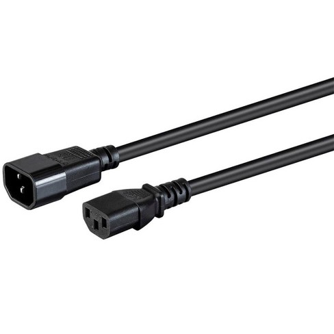 Monoprice Extension Cord - 1 Feet - Black | IEC 60320 C14 to IEC-320-C13, 14AWG, 15A, SJT, 100-250V - image 1 of 6