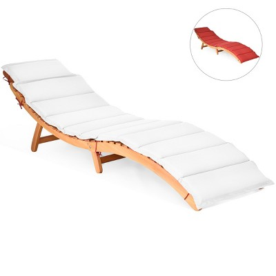 Costway Folding Wooden Outdoor Lounge Chair Chaise Red/White Cushion Pad Pool Deck