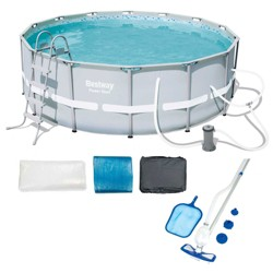 Bestway 14ft x 48in Power Steel Frame Above Ground Round Pool Set and Accessories