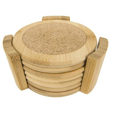 """Home Basics 4.5"""" Bamboo Coaster Set, (Pack of 6) with Holder, Natural"""