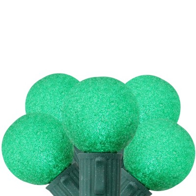 Vickerman 10ct G30 LED Battery Operated Sugared String Lights Green - 10.25' Green Wire