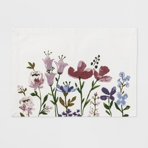 """19""""x14"""" Spring Placed Floral Placemat White - Threshold™ - image 1 of 1"""