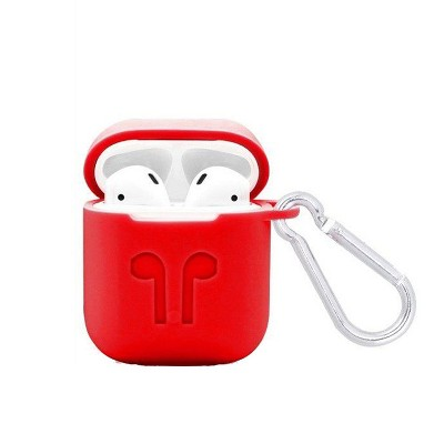 Valor Rubber Soft Silicone Case Cover w/ Hookups Compatible with Apple AirPods/AirPods 2, Red
