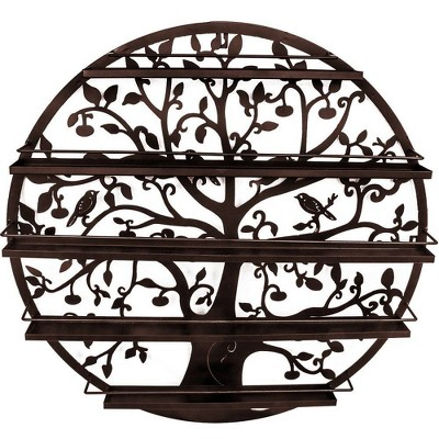 Sorbus Wall Mounted 5 Tier Nail Polish Rack Holder Tree Round Metal Salon Wall Art Display Bronze