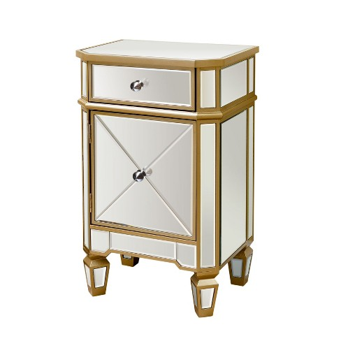 Knapp Mirrored Cabinet Nightstand Gold - Abbyson Living - image 1 of 4