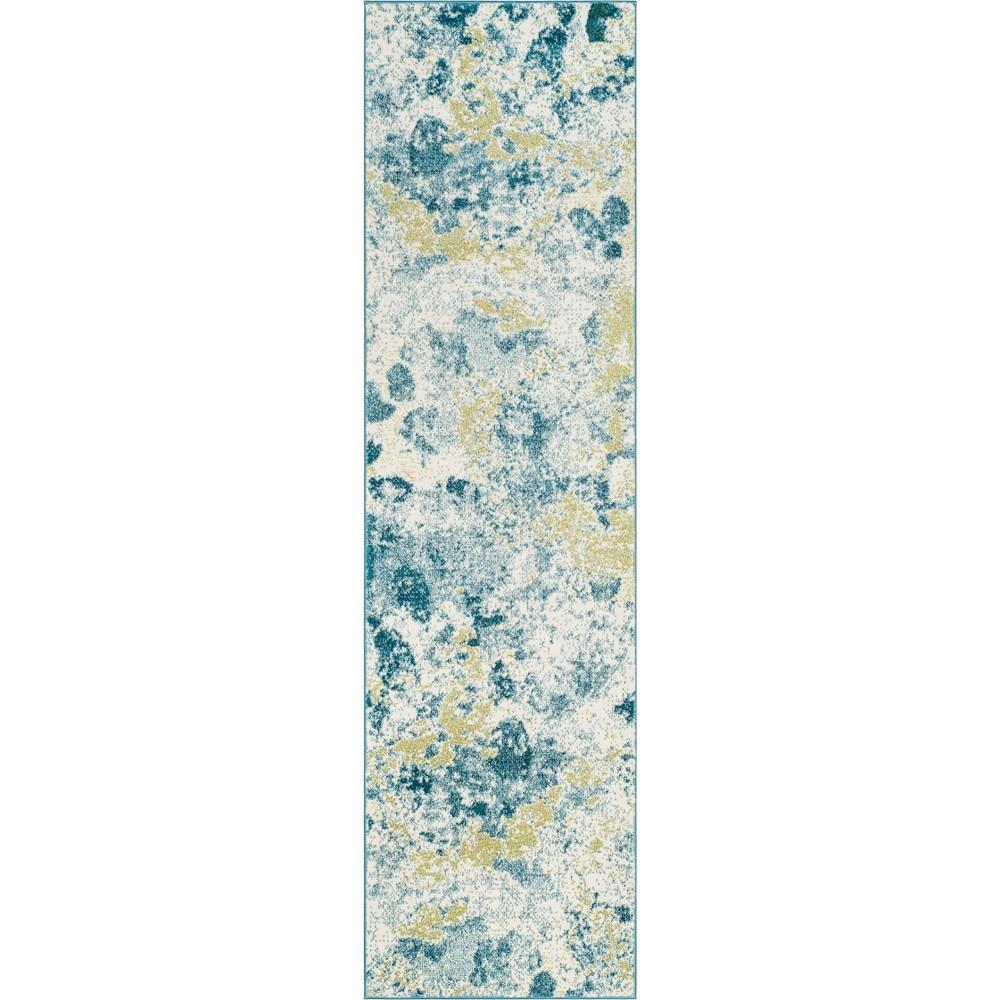 22X6 Tie Dye Design Loomed Runner Ivory/Light Blue - Safavieh Coupons