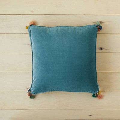 Oversized Solid Velvet Square Floor Pillow with Tassels Teal - Opalhouse™ designed with Jungalow™