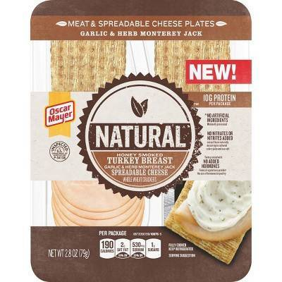 Oscar Mayer Natural Honey Smoked Turkey Breast with Garlic & Herb Spreadable Cheese Snack Plate - 2.8oz