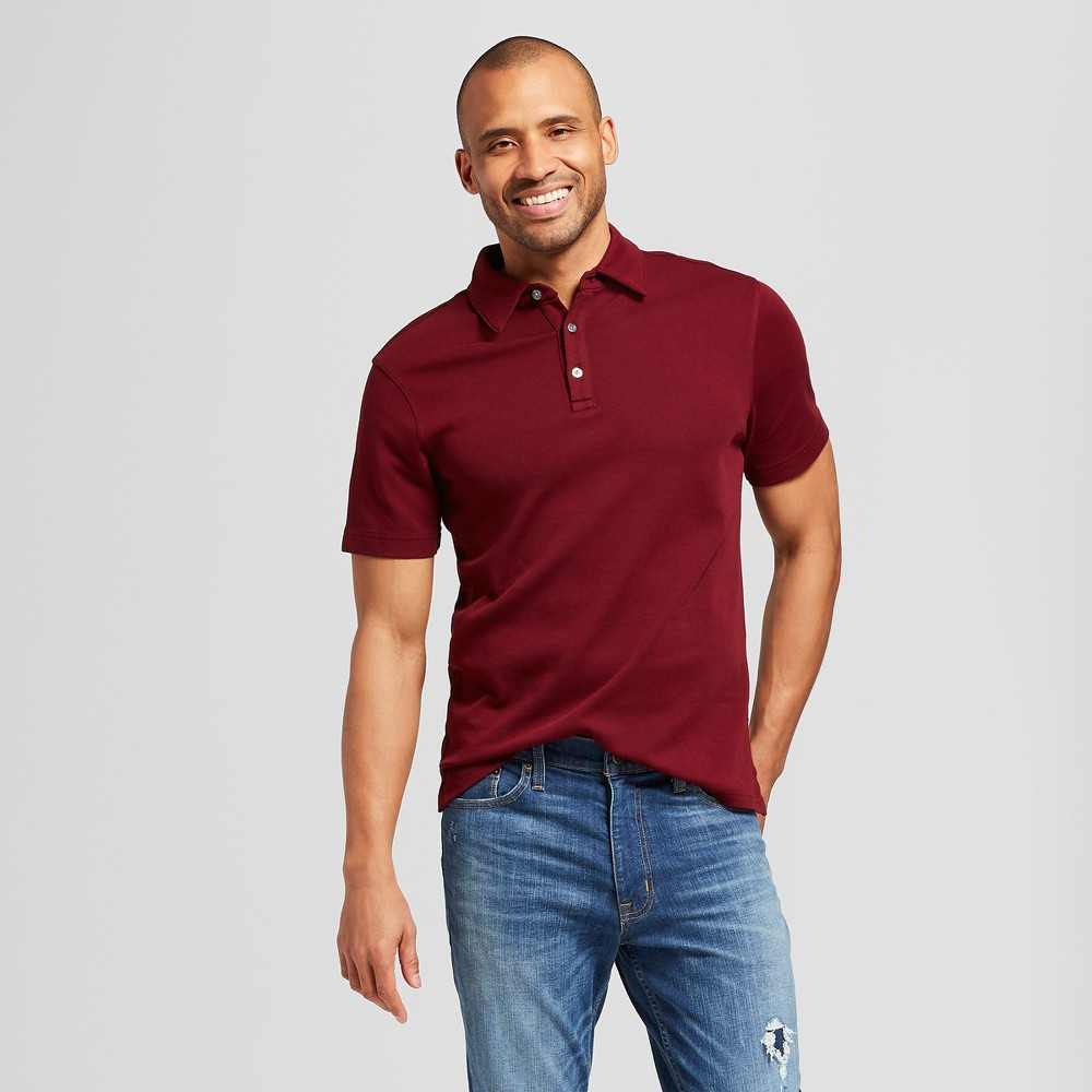 Men's Standard Fit Short Sleeve Elevated Ultra-Soft Polo Shirt - Goodfellow & Co Berry Cobbler S