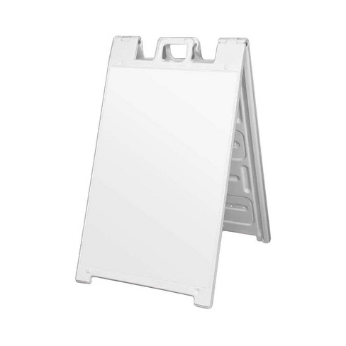 Plasticade 130NSBOXED Signicade Portable Storable Folding A-Frame Double-Sided Sidewalk Sign with Locking Hinges, White (4 Pack) - image 1 of 3