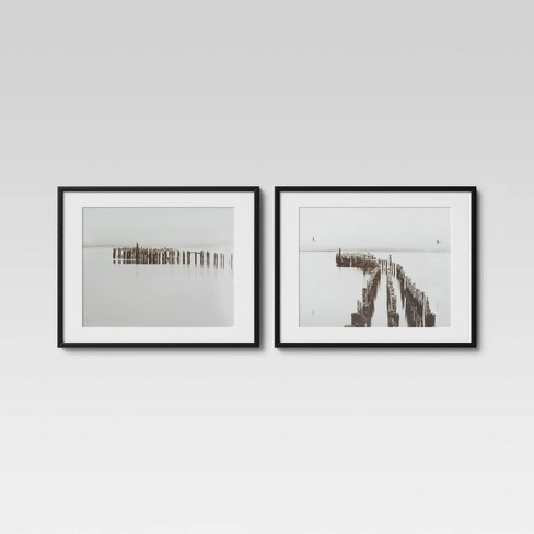 "(Set of 2) 30"" x 24"" Black And White Photography Framed Print - Threshold™ - image 1 of 4"