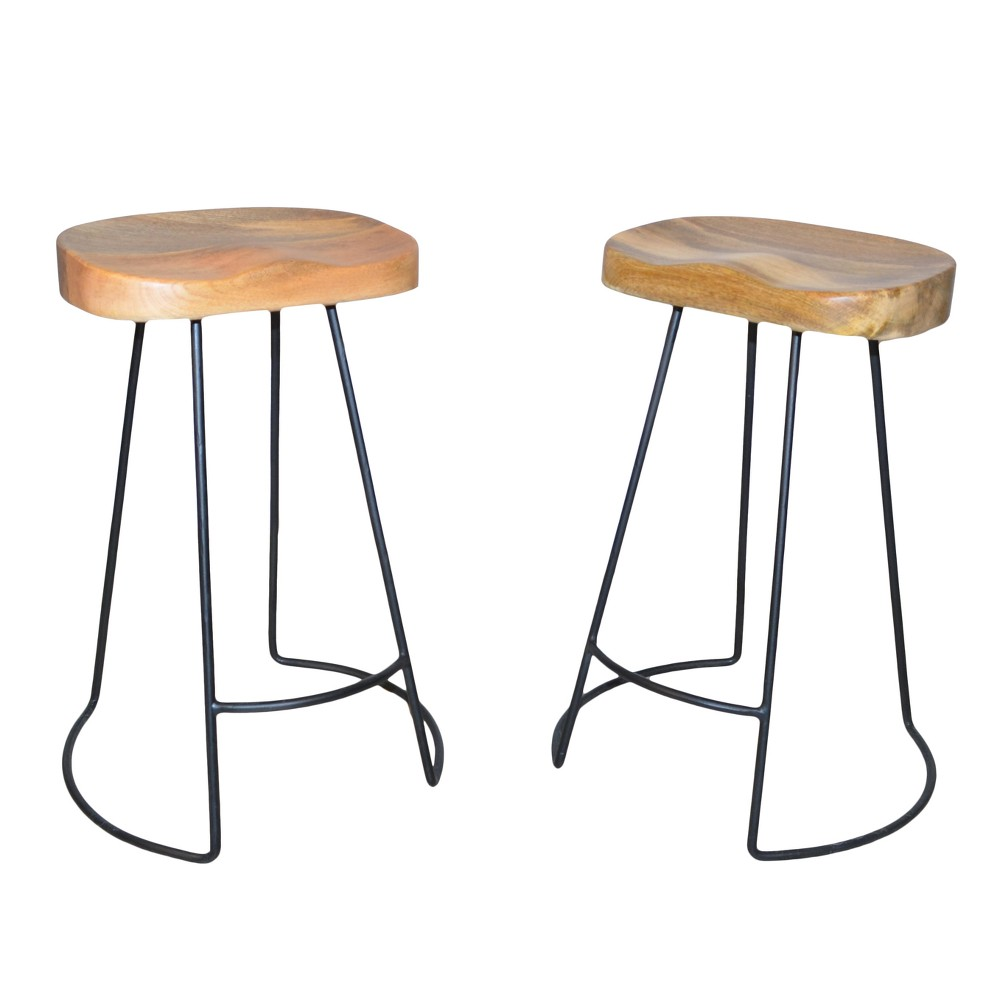 """Image of """"24"""""""" Vale Counter Stool (Set of 2) - Natural/Black - Carolina Chair and Table"""""""