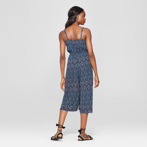 a04eb5865042 Women s Tribal Print Sleeveless Tie Waist Jumpsuit - Lily Star (Juniors )  Navy M   Target
