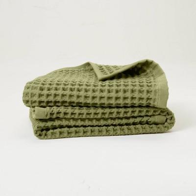 2pk Waffle Hand Towel Set Moss Green - Casaluna™
