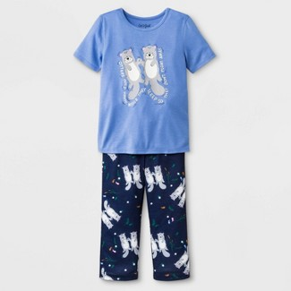 Baby Girls' Otter Jersey with Printed Bottom Pajama Set - Cat & Jack™ Easygoing Blue 18M