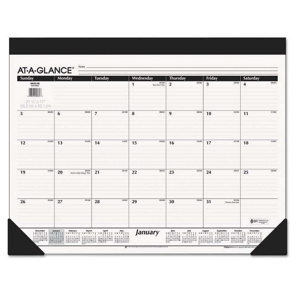 At-A-Glance Monthly Refillable Desk Pad 22 x 17 White 2018