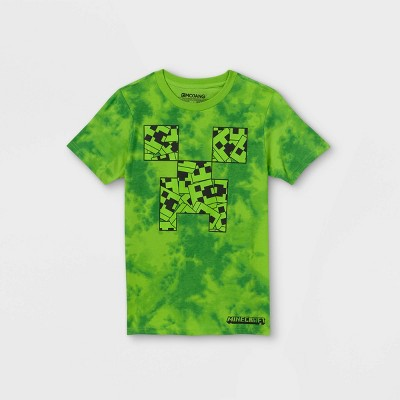 Boys' Minecraft Tie-Dye Short Sleeve Graphic T-Shirt - Green