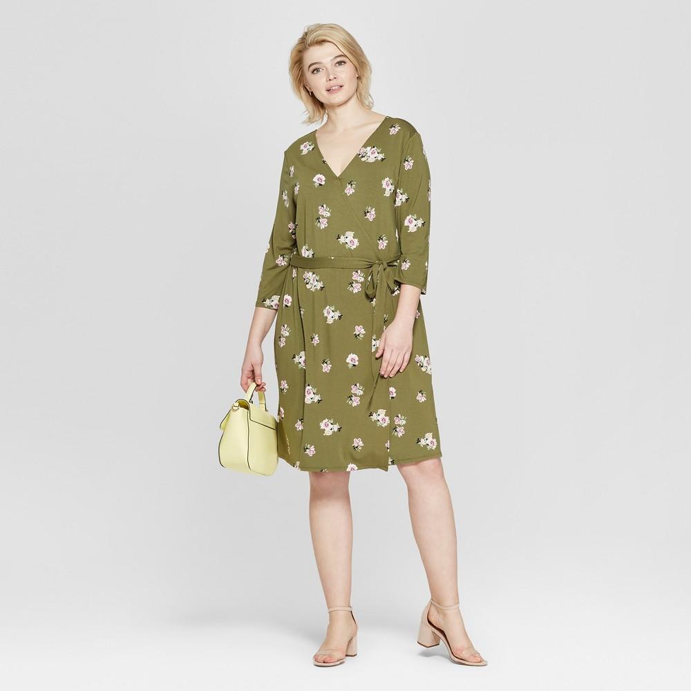 Women's Plus Size Floral Print 3/4 Sleeve Wrap Midi Dress - Ava & Viv Olive 2X, Green