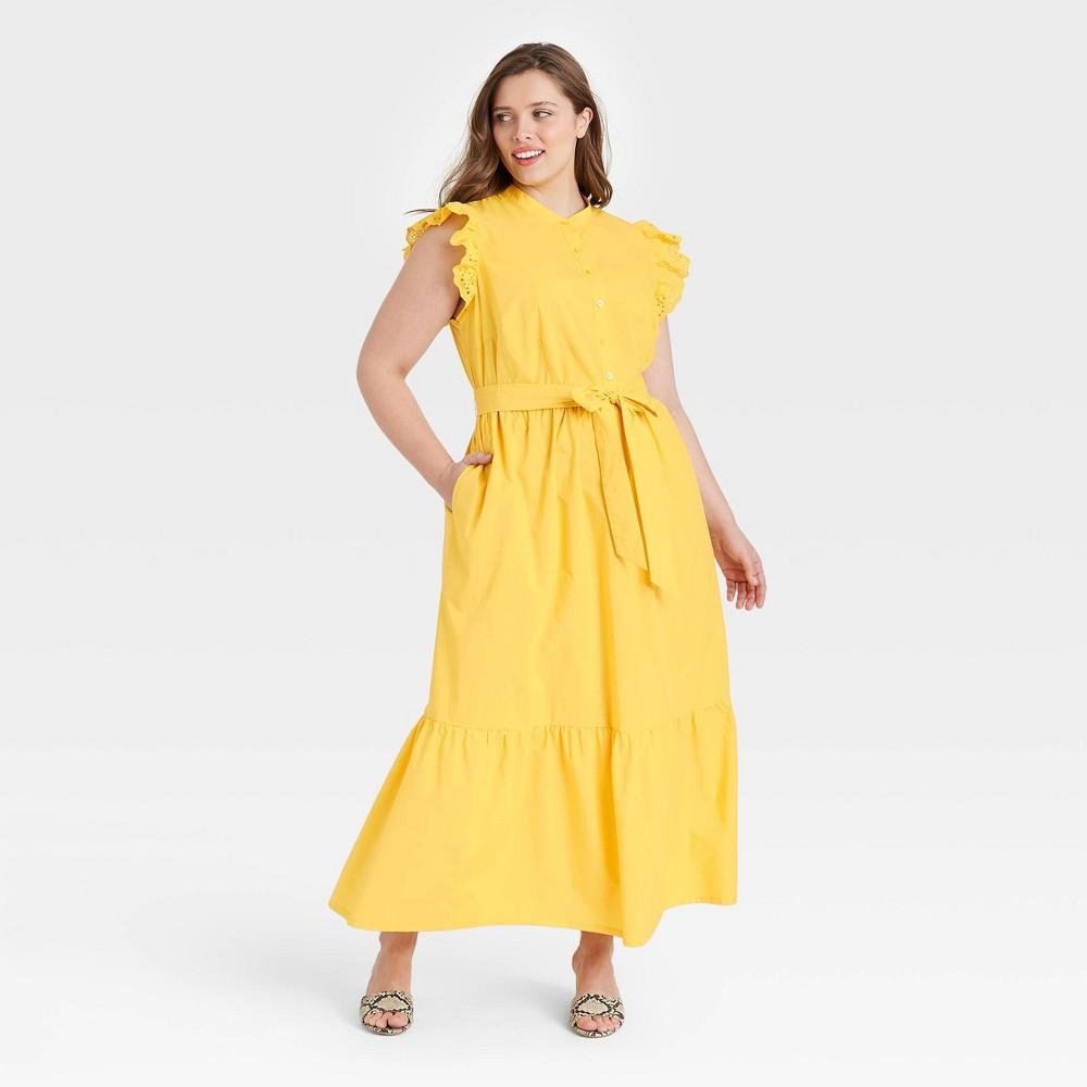 Women 39 S Plus Size Ruffle Short Sleeve A Line Dress Who What Wear 8482 Yellow 2x