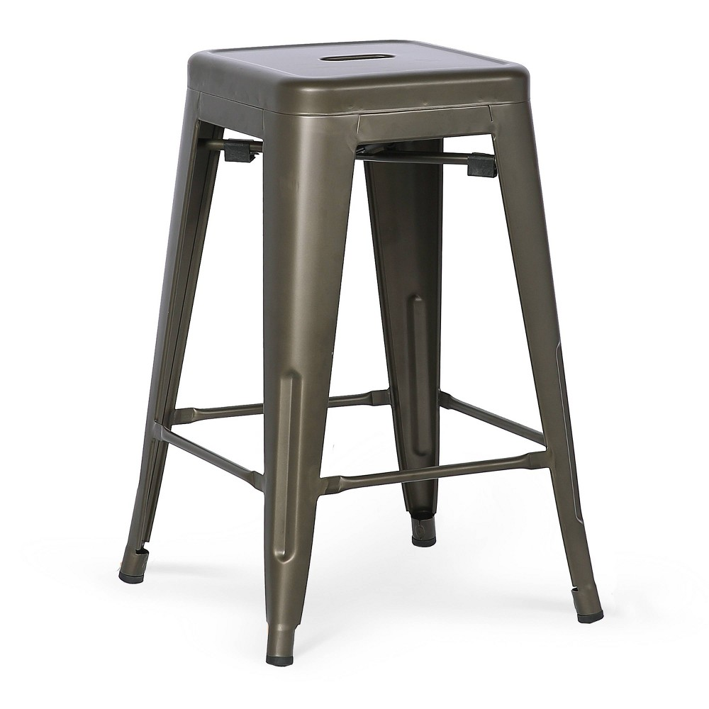 "Image of ""24"""" Franco Industrial Counter Height Stool Bronze - Poly & Bark"""