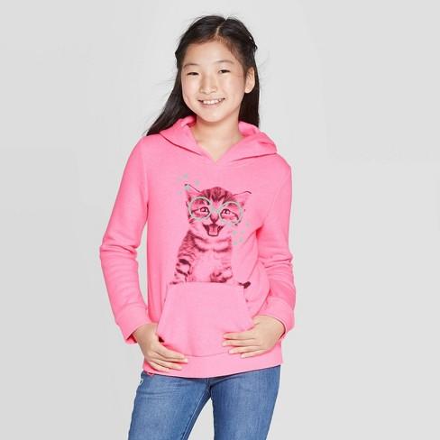 Girls' Long Sleeve Glasses Cat Hoodie - Cat & Jack™ Pink - image 1 of 3