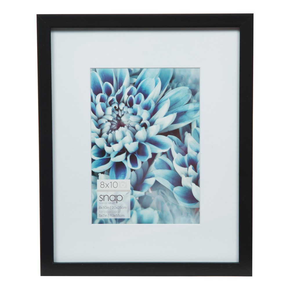 Image of Single Picture 8X10 Mat To 5X7 Black Wood Frame - Gallery Solutions