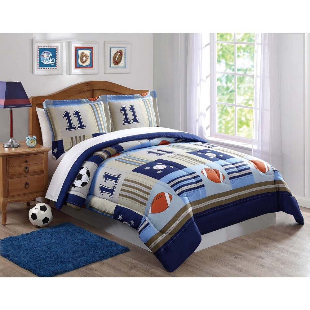 Image of Twin Denim And Khaki Sports Comforter Set - My World