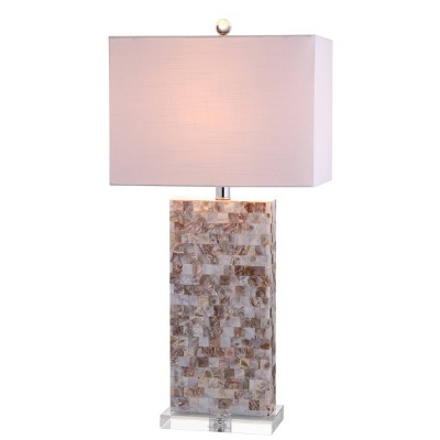 "29"" Cannon Seashell and Crystal Table Lamp (Includes LED Light Bulb) Beige - JONATHAN Y"
