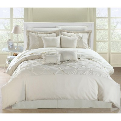 Chic Home Vermont Solid Pleating Oversized Soft Plush Microfiber Embroidered Comforter Bed In A Bag Set 8 Piece - Beige