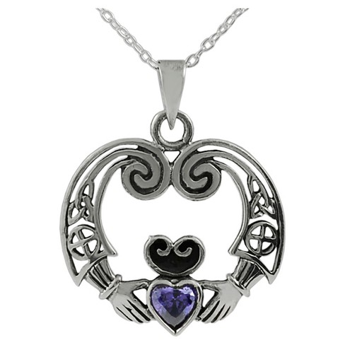 1/2 CT. T.W. Heart-cut CZ Bezel Set Celtic Claddagh Pendant Necklace in Sterling Silver - Purple - image 1 of 2