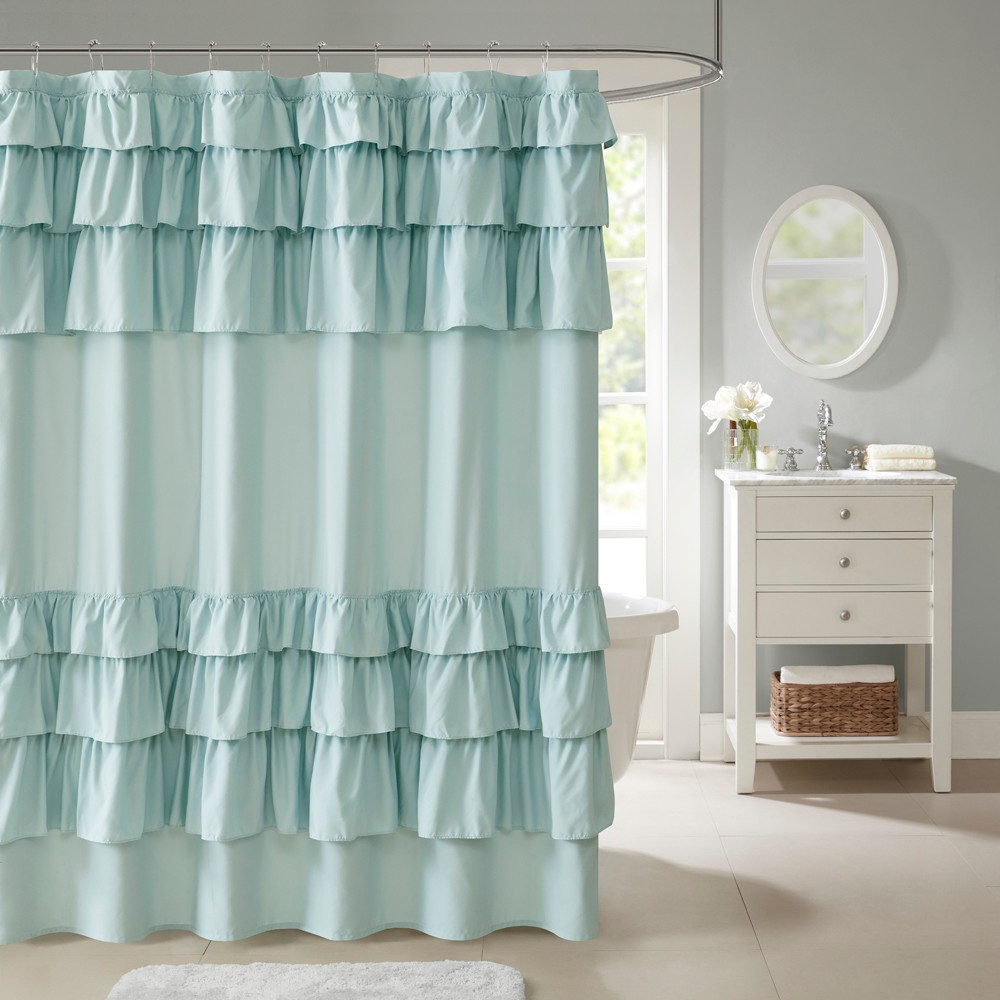 Image of Abby Ruffled Shower Curtain Blue