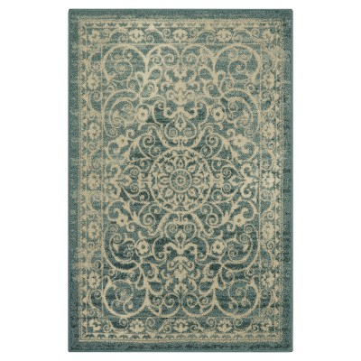 7'X10' Scroll Tufted Area Rug Green - Maples