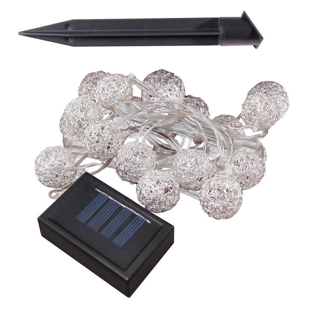 20Ct Solar Powered Wire Silver Ball Led String Lights 16'